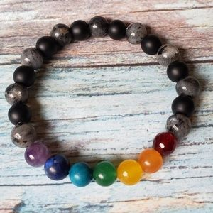 Black Labradorite Chakra Yoga Stretch Bracelet